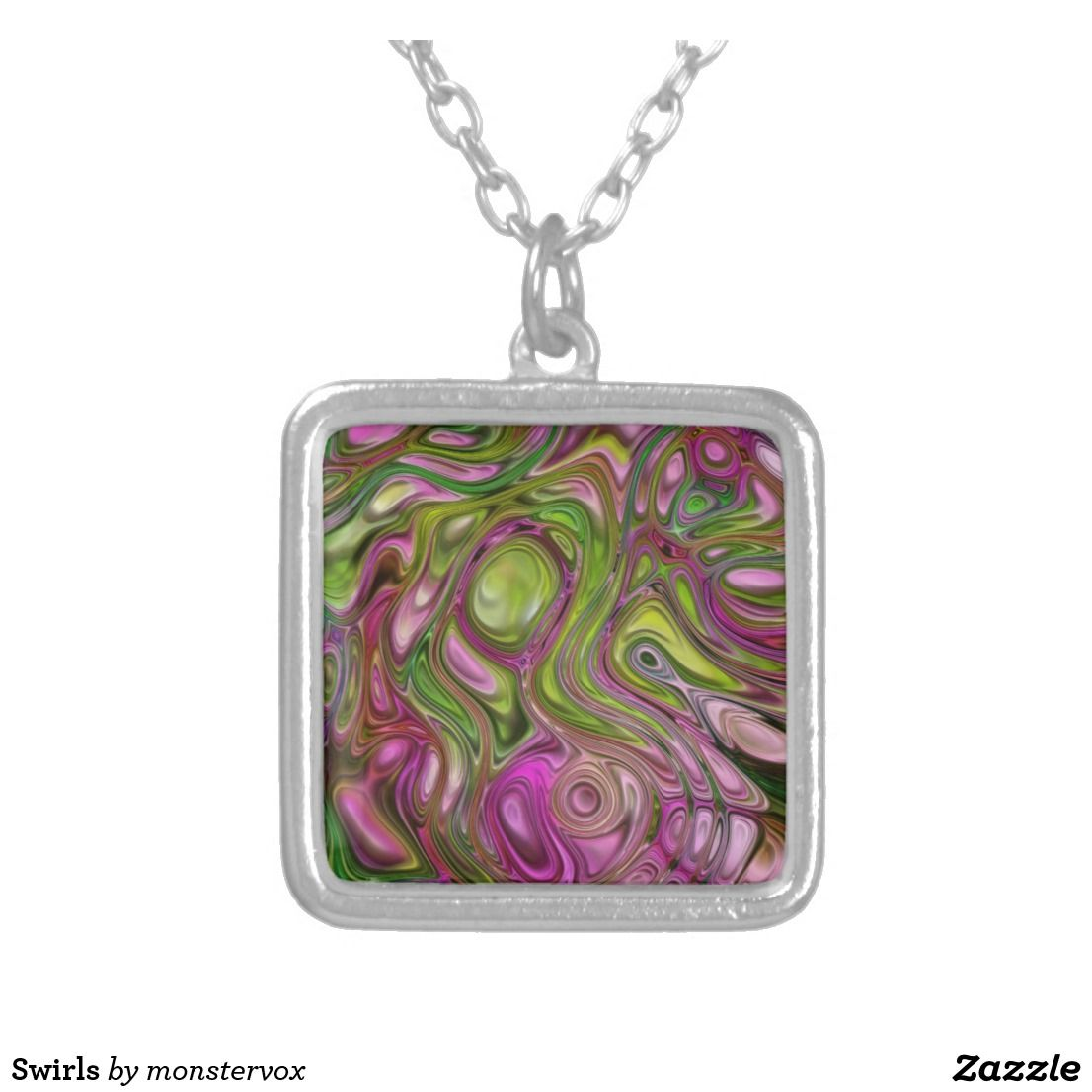 Swirls Silver Plated Necklace #Swirl #Decorative #Design #Zazzle #Jewelry #Fashion #Necklace