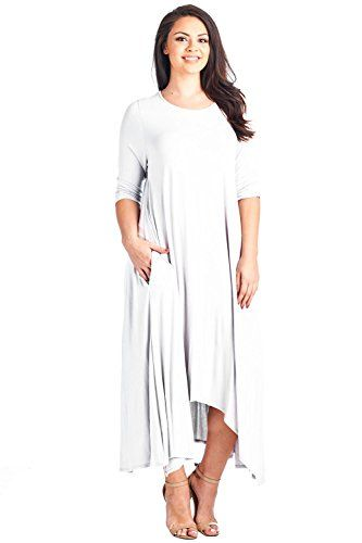 6709a7dd8b5 12 Ami Plus Size Solid 3 4 Sleeve Pocket Loose Maxi Dress - Made in ...
