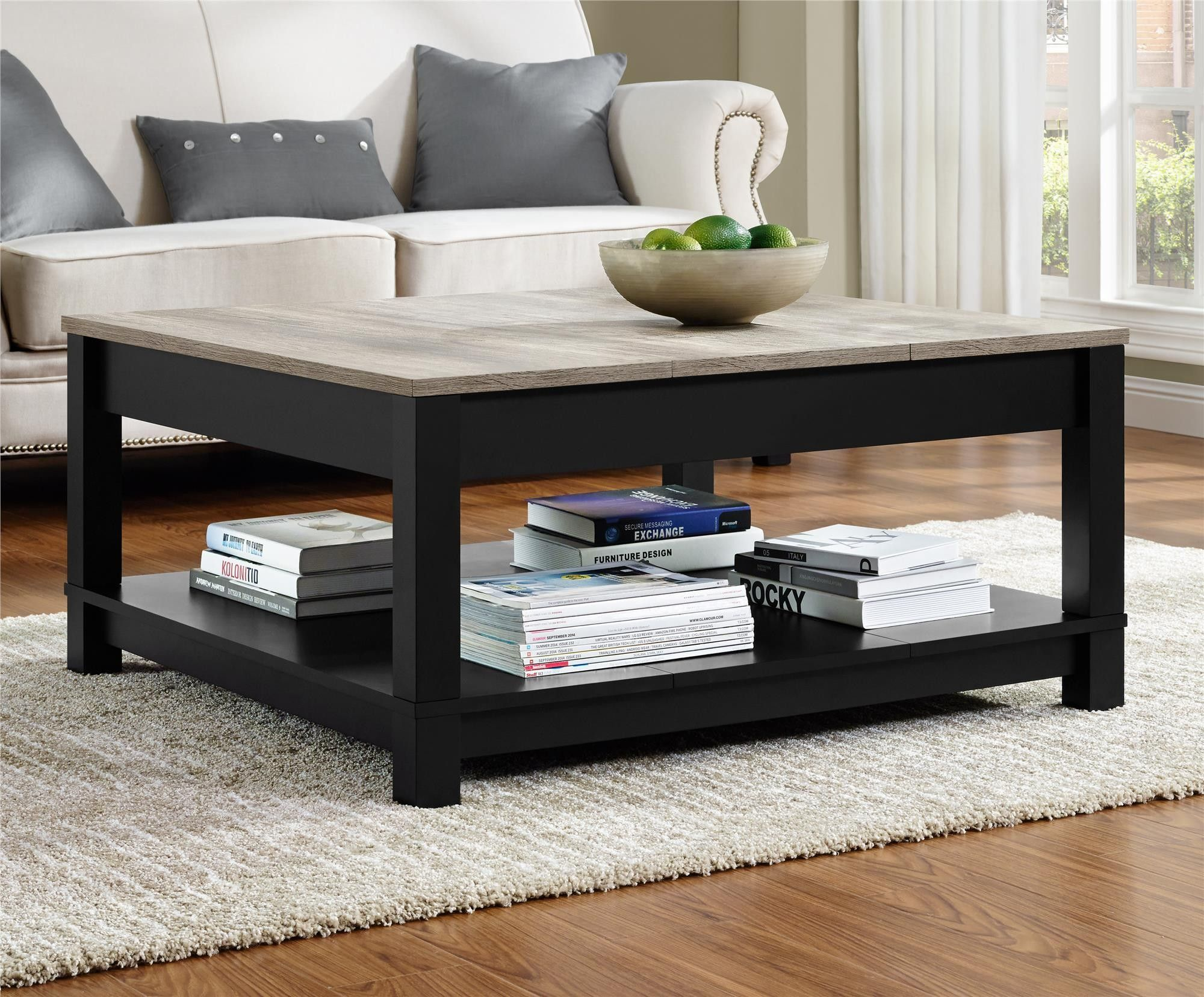 Carver Coffee Table Black Distressed Gray Oak Coffee Table