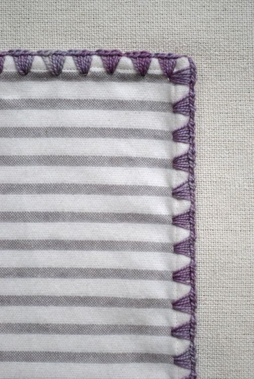 Crocheted edging for flannel baby blankets - directions at Purl Bee.