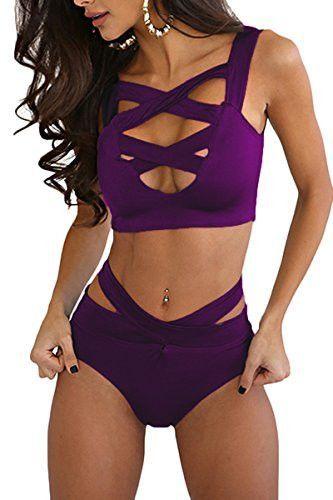 Prograce Women's Sexy Criss Cross High Waist Bandage Bikini Set Swimsuit