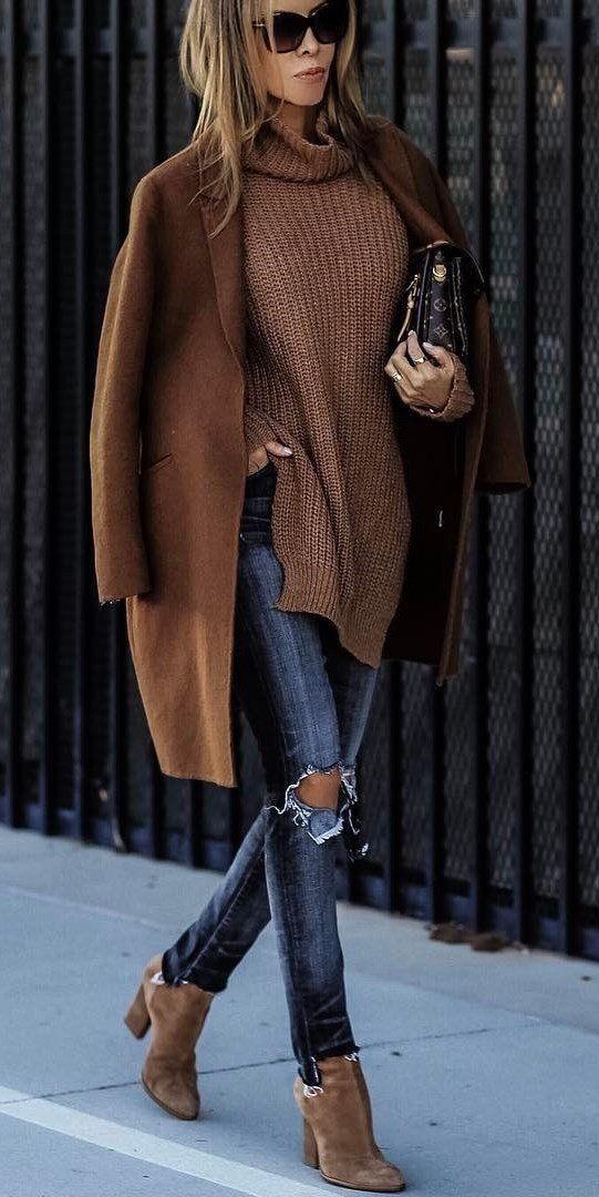 Damen für Outfits Braunen Mantel kombinieren137 6yvbf7gY