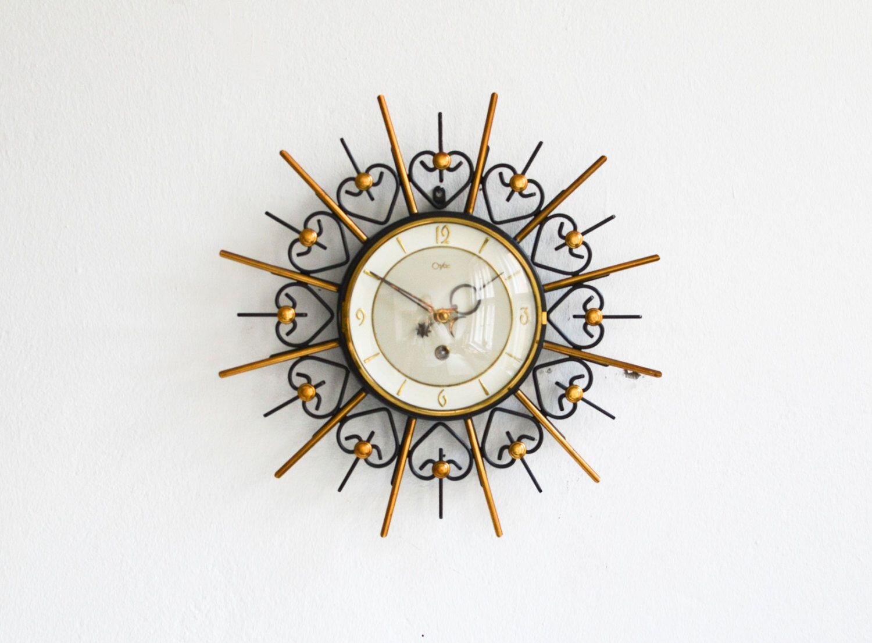 Vintage brass wall starburst clock orfac sunburst clock Mid