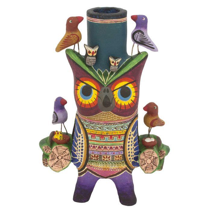 Owl Fiesta Candleholder
