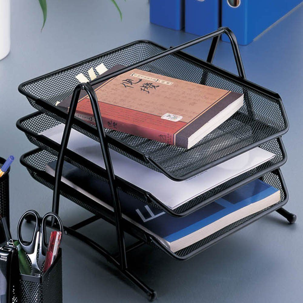 Design Ideas Mesh Letter Tray: Aojia 3-tier Steel Mesh Desk Tray Mesh Paper Tray Mesh