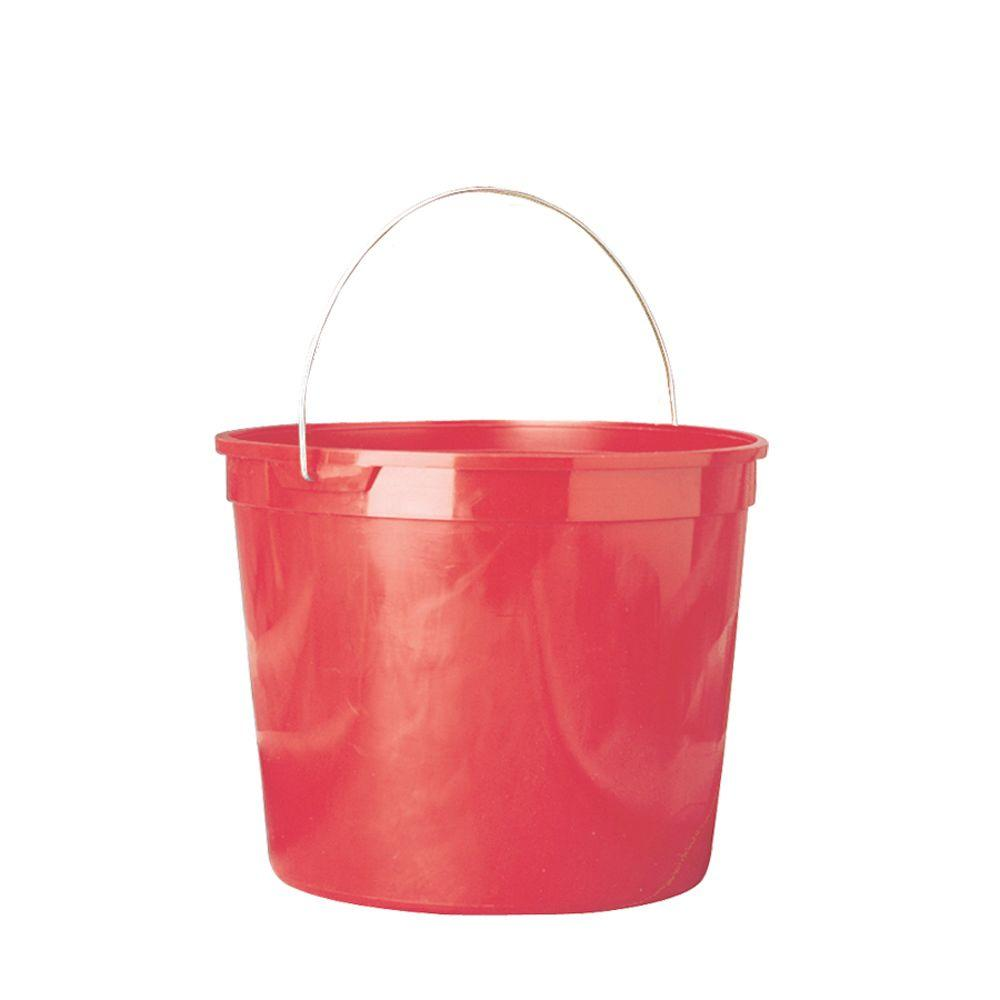 Leaktite 5 Qt Red Polysteel Rim Plastic Pail Pack Of 3 209312 The Home Depot Plastic Pail Plastic Buckets Pail