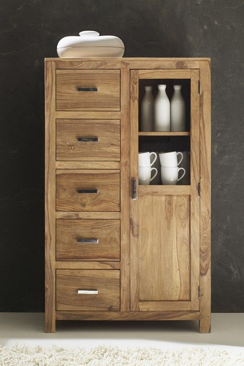 sheesham brotschrank sit wiam 5 schubladen natur. Black Bedroom Furniture Sets. Home Design Ideas