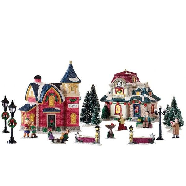 St. Nicholas Square® Village 20-piece School / Train Station Starter... ($70) ❤ liked on Polyvore featuring home, home decor, multicolor and colorful home decor