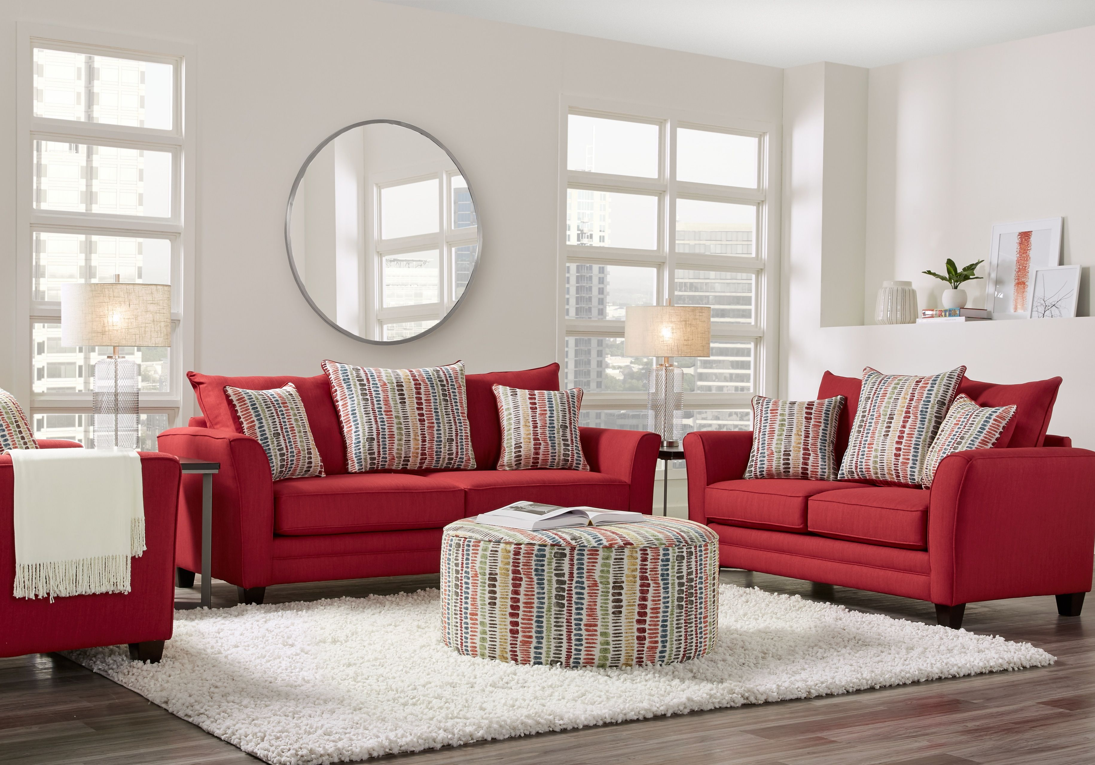 Marlette Red 8 Pc Living Room Red Sofa Living Room Red Leather Couch Living Room Red Couch Living Room #red #couch #living #room #decor