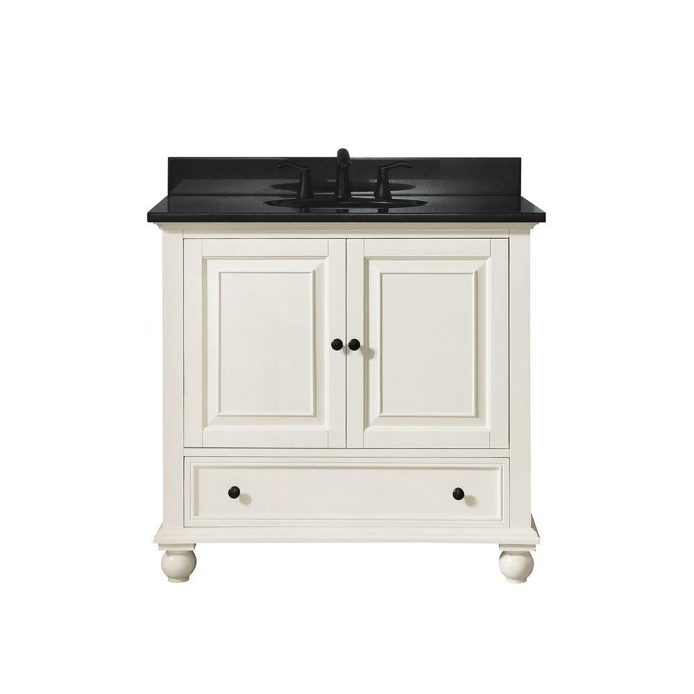 Avanity Thompson 37 In W X 22 In D X 35 In H Vanity In French White With Granite Vanity Top In Black With White Basin Thompson Vs36 Fw A In 2020 With Images