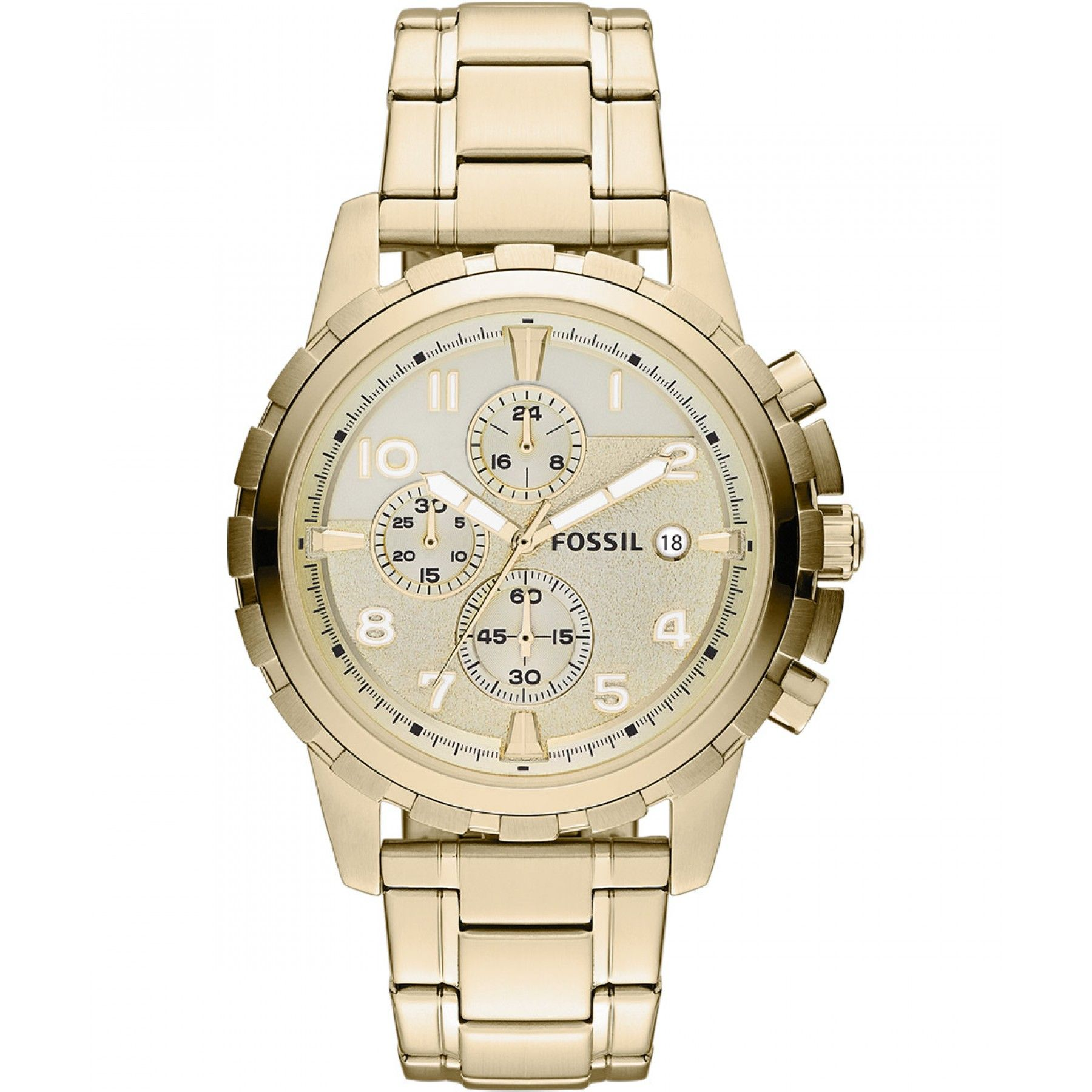 e68ec41e7231 Reloj Fossil de caja bisel con extensible en acero color oro carátula  blanca y manecillas e