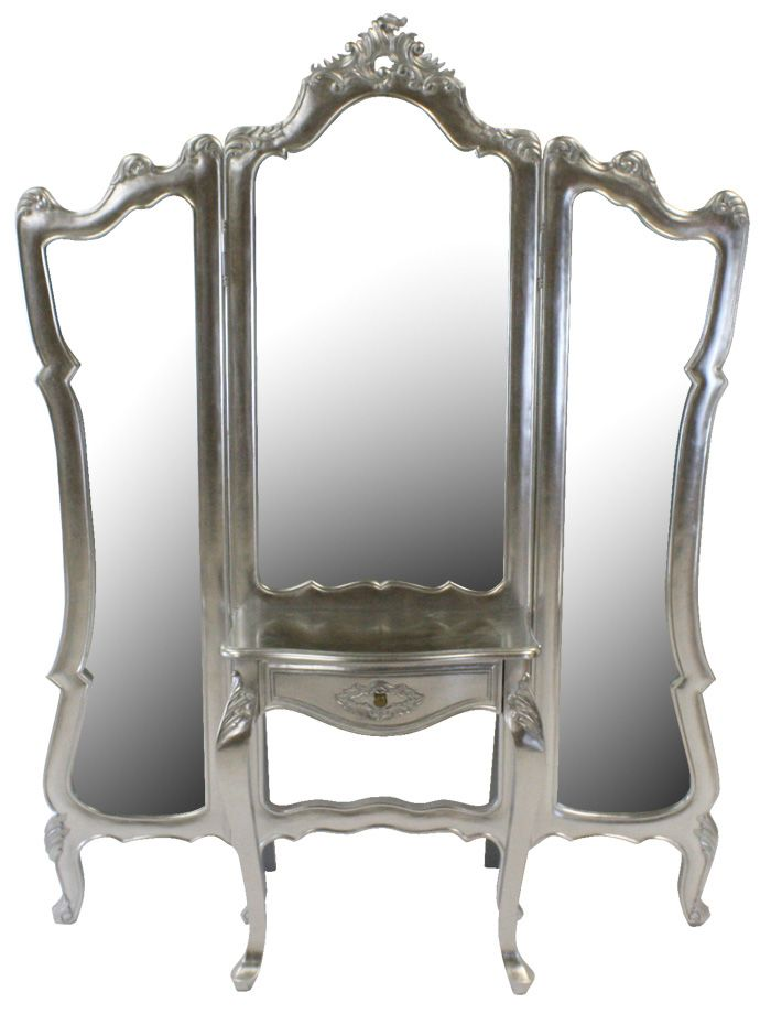 Three-Way Floor Mirrors   French Silver leaf 3 Way Dressing Mirror ...