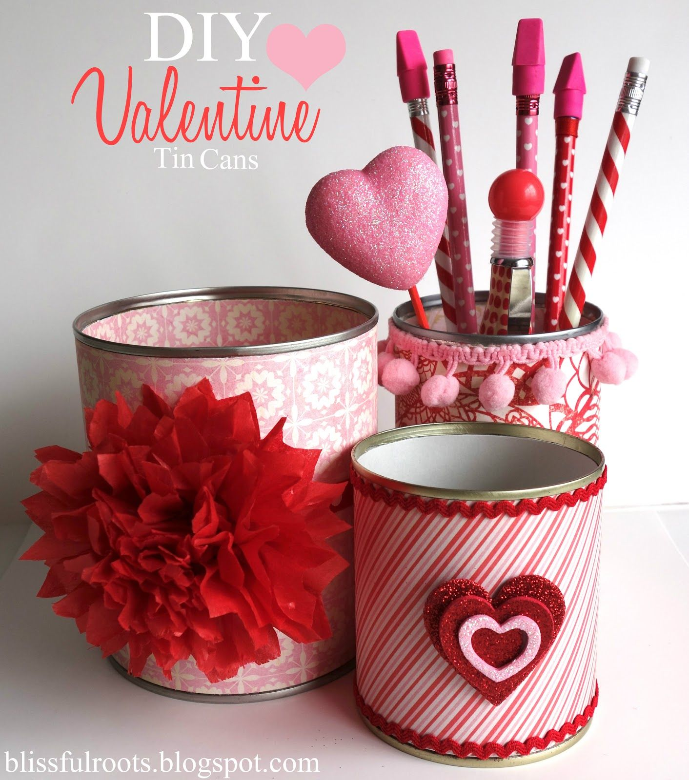 Blissful roots diy valentine tin cans could make these in regular recycle tin cans with paper ribbon or tissue flowers for a reusable valentine project blissful roots diy valentine tin cans solutioingenieria Gallery