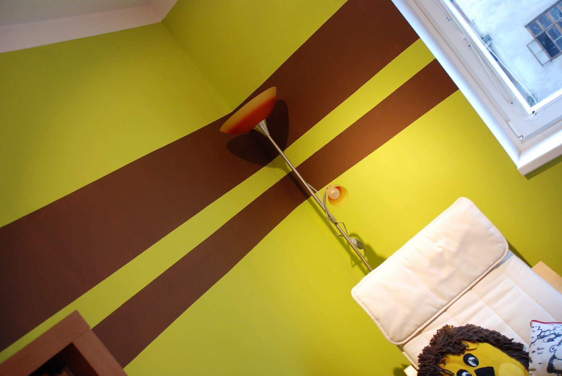 Wandgestaltung Streifen Wohnzimmer | Wandmalerei ...