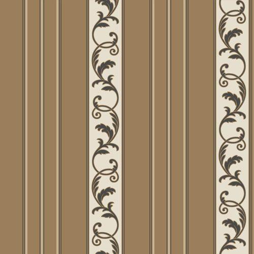 Sapphire Oasis Dark Bronze Satin, Cream and Black Damask Stripe Wallpaper