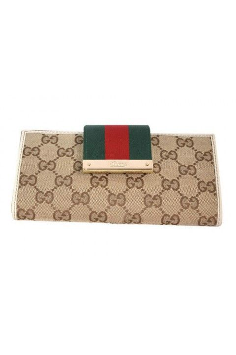 464827eaaea Beige ebony GG fabric plus with white leathertrim and signature web  green red green Light gold hardware 14 card slots and two bill compartments  Zip pocketat ...