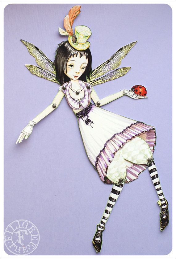 Fairy Paper Doll  Articulated Paper Doll handmade by Celena and Martin of theFiligree