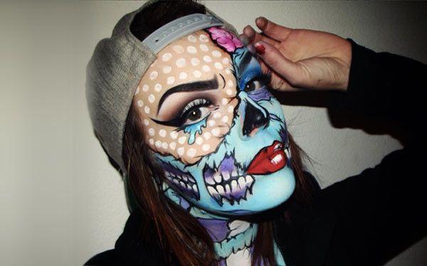 pop art zombie kost m selber machen maquillaje maquillaje art stico y maquillaje halloween. Black Bedroom Furniture Sets. Home Design Ideas