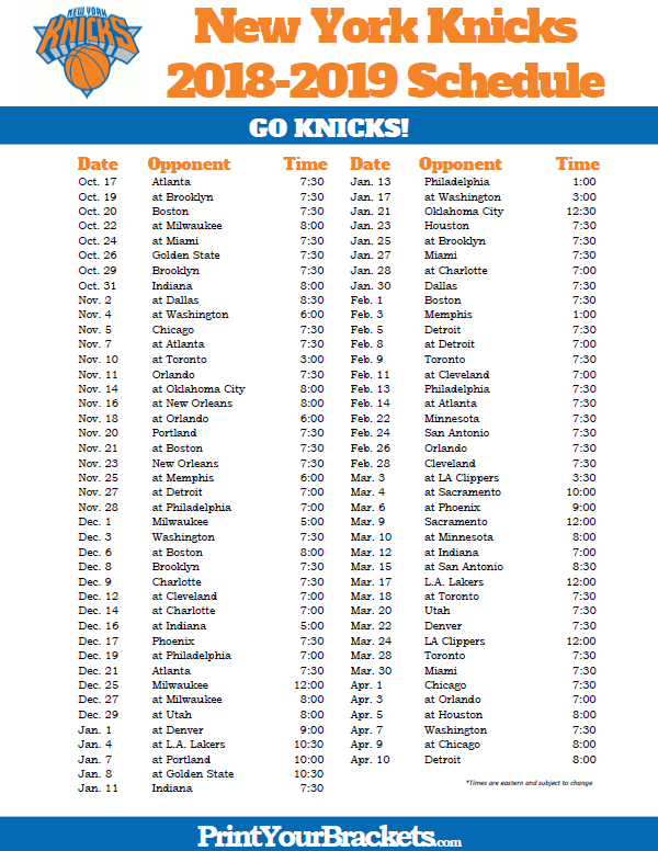 graphic about Warriors Printable Schedule named Printable 2018-2019 Clean York Knicks Program Printable NBA