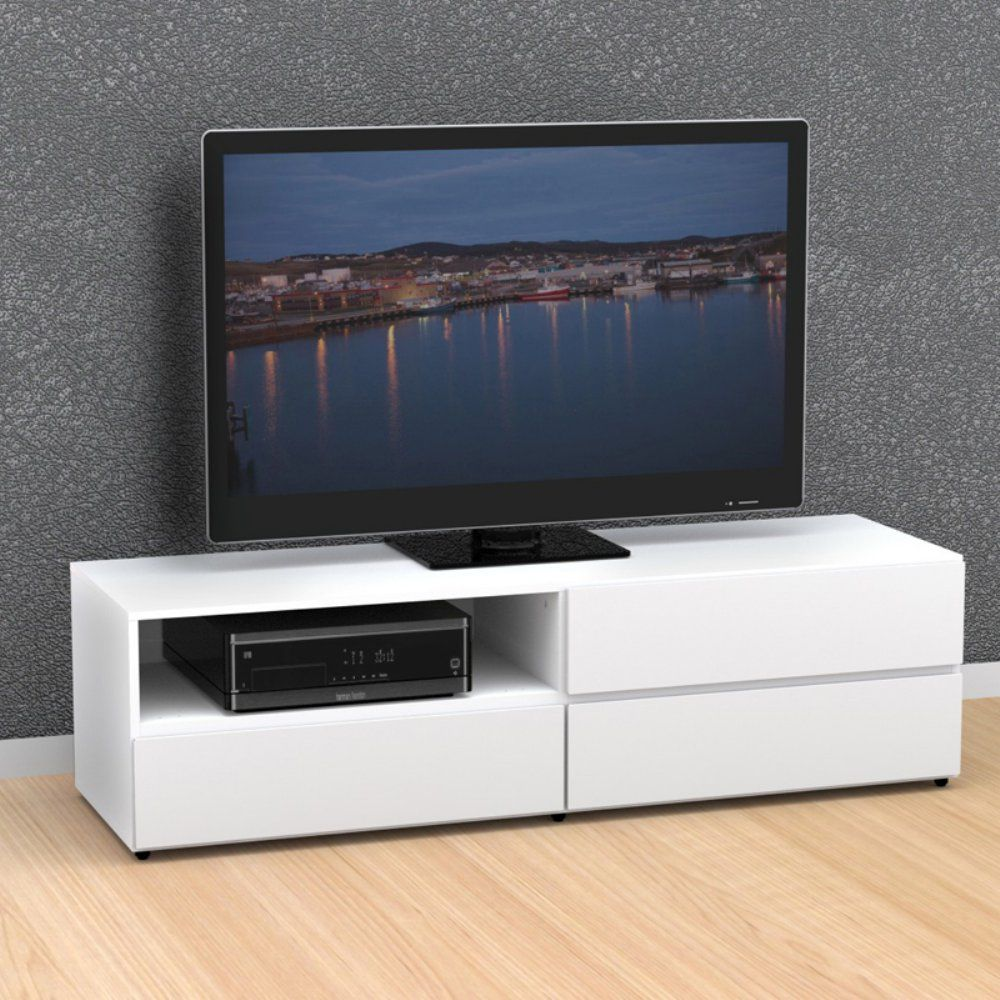 Contemporary White Tv Stand Tv Stands Pinterest White Tv  # Meuble Tv Gisan
