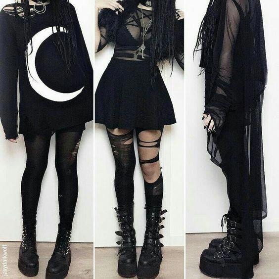 Vêtements dark, witch, pastel goth, boutique en ligne de vêtements, chaussures, bijoux et accessoires, bottines en simili cuir et boucles en métal,...