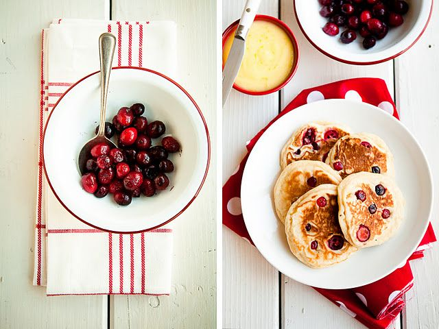 cranberry nutmeg pancakes with lemon curd.