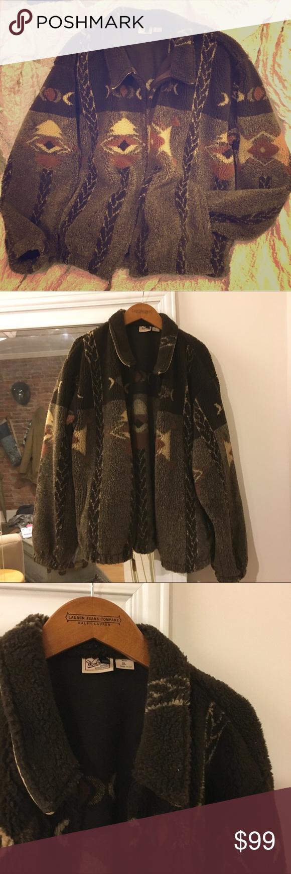 Vintage woolrich fluffy southwestern fleece zip up zip and cozy