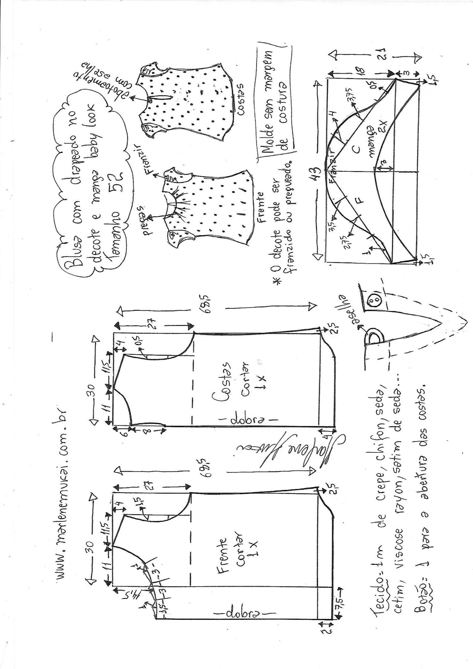 7f1659ab53 blusa drapeada no decote com manga baby look - DIY - molde
