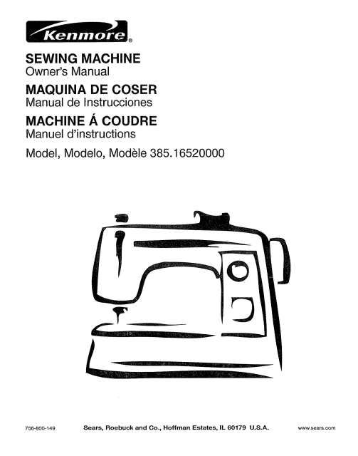 Kenmore 385.16520000 Sewing Machine Instruction Manual