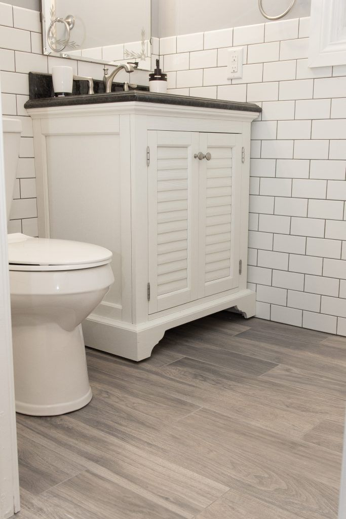 Light Gray Tile Bathroom Floor With White Subway Tile Wainscoting |  Bathrooms | Pinterest | Grout, Grey Tiles And White Subway Tiles