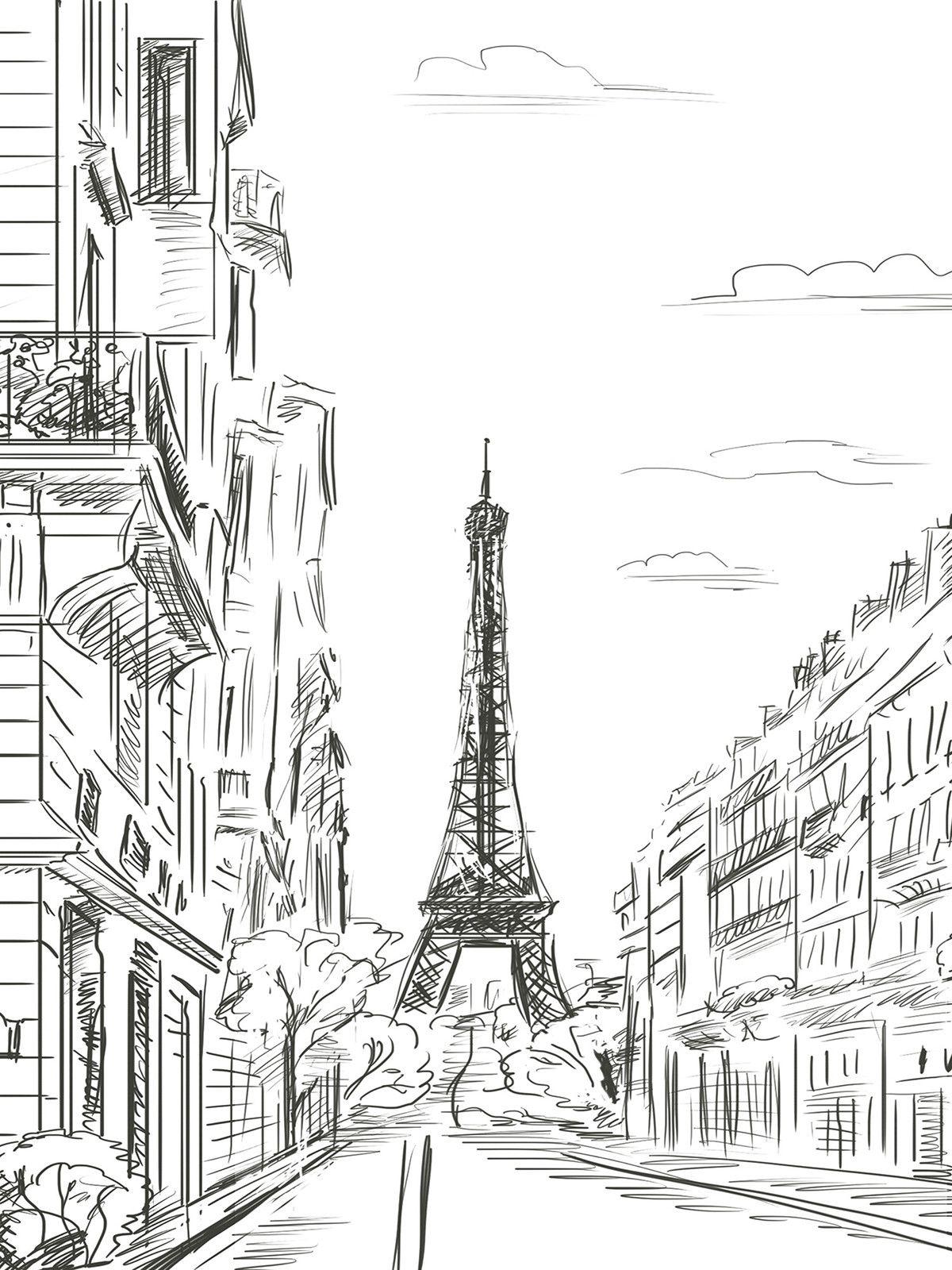 Extraordinaire  Mot-Clé Paris Line Art / 32   Coloriage paysage, Paysage tour eiffel ...