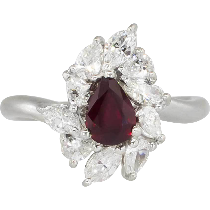 Elegant Estate 1.90ct t.w. Rich Red Ruby & Mixed Cut Diamond Ring Platinum