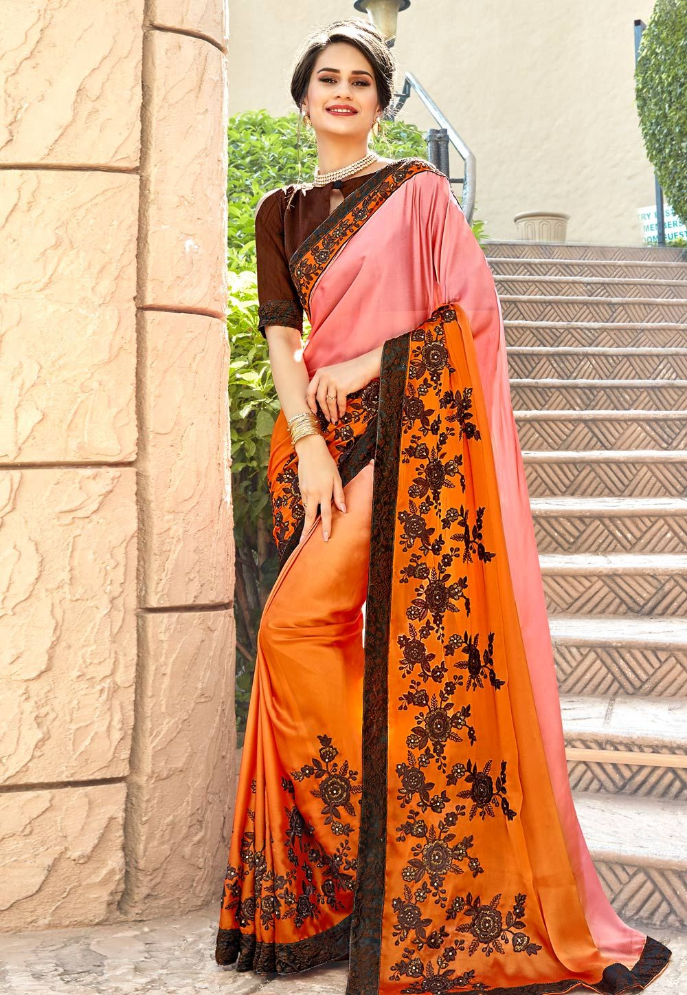 d4e027f6e5 Buy Orange Satin Embroidered Saree With Blouse 156276 with blouse online at  lowest price from vast collection of sarees at Indianclothstore.com.