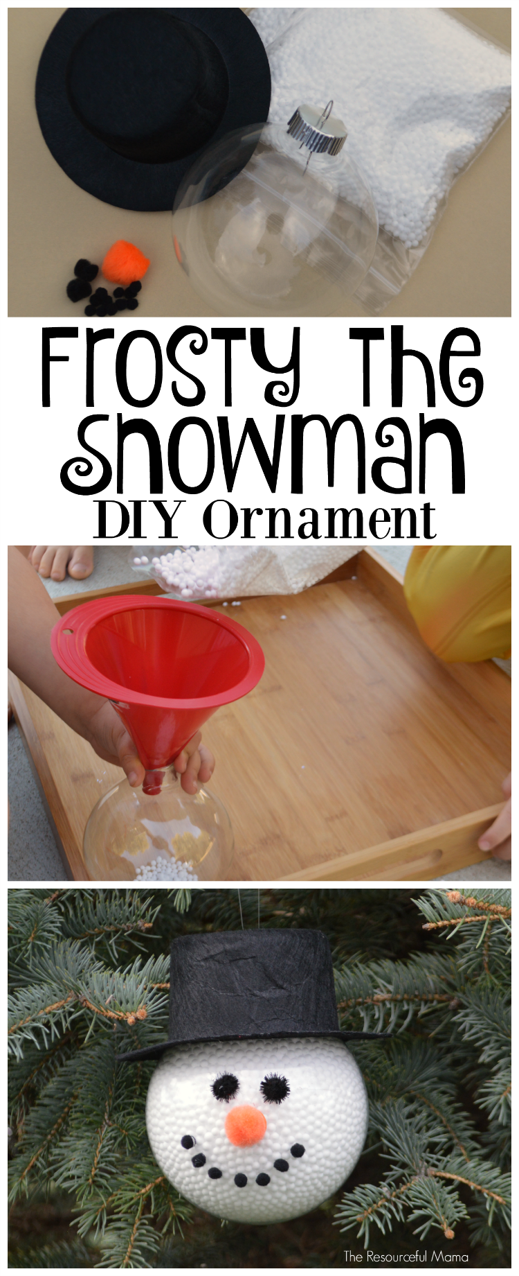 diy frosty the snowman ornament