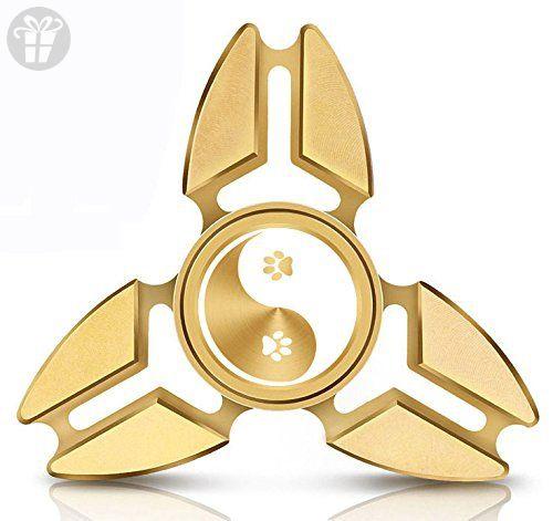 Fidget Spinner Tri Gold Aluminum Metal Paw Prints Yin Yang