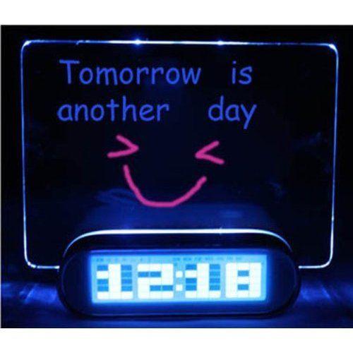 LED Fluorescent Message Board Digital Alarm Clock ($13.36)