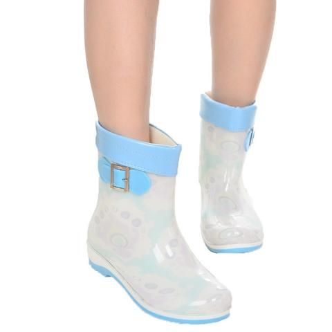 bd2444ef6dca Buckle In-Tube Women Rain Boots New Fashion Female Warm Water Lady Shoes  Plus Size 40 41 Antiskid Rubber Galoshes Botas Mujer
