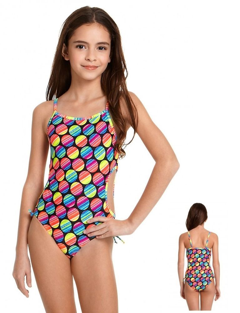 5d7adbc36 Angel Beach Girls Swimsuit Dot Cutout One Piece size 4 5 6X NEW ...