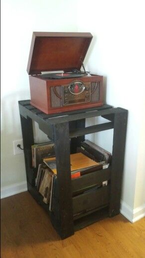 Record Player Stand And Record Storage Record Player Stand Diy Record Storage Record Player Stand