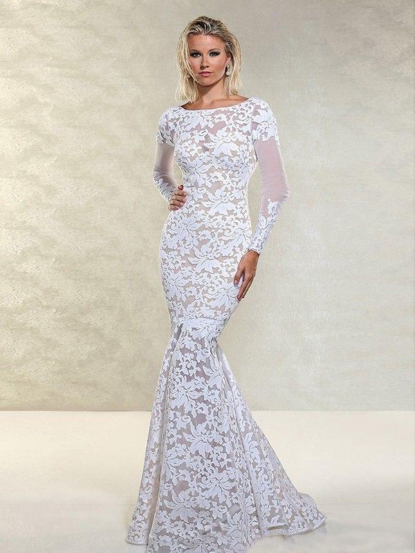 Trumpet/Mermaid Bateau Long Sleeves Floor-Length Lace Dresses ...