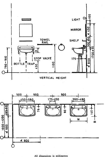 Fig 5 Hand Wash Basins Toilet Bathroom Floor Plans In
