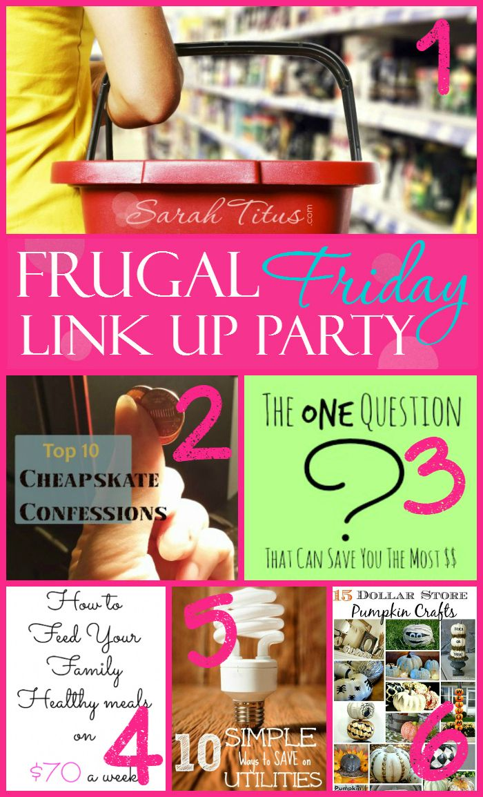 Link up parties are AWESOME! Join the fun this week at Frugal Friday Link Up Party! Anything frugal, DIY, recipes, anything mom related or G rated welcome!