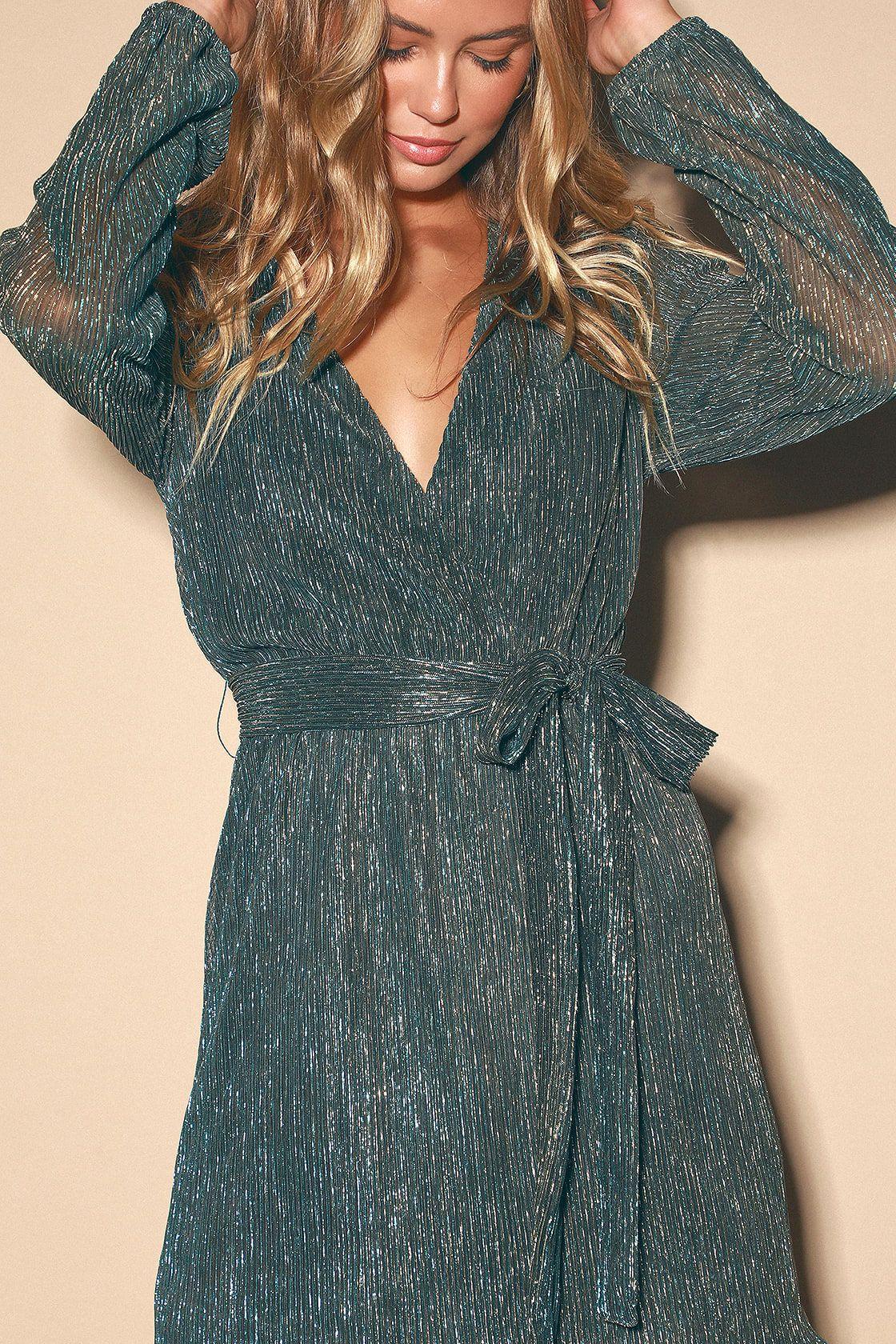 Flirt about it gold and teal blue metallic mini dress