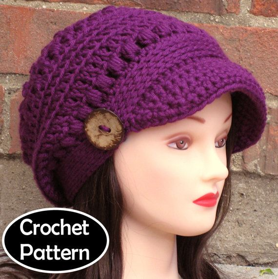 Crochet Pattern Mens Hat With Brim : CROCHET HAT PATTERN Instant Download Pdf - Brooklyn ...