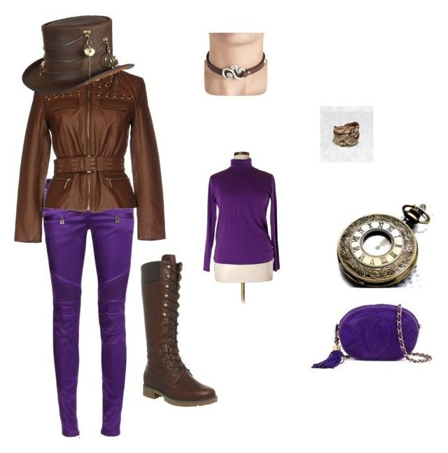 """""""Steampunk Inspired purple and brown"""" by brigitta-m ❤ liked on Polyvore featuring Balmain, MICHAEL Michael Kors, Timberland, Overland Sheepskin Co., J.Crew and Chanel"""