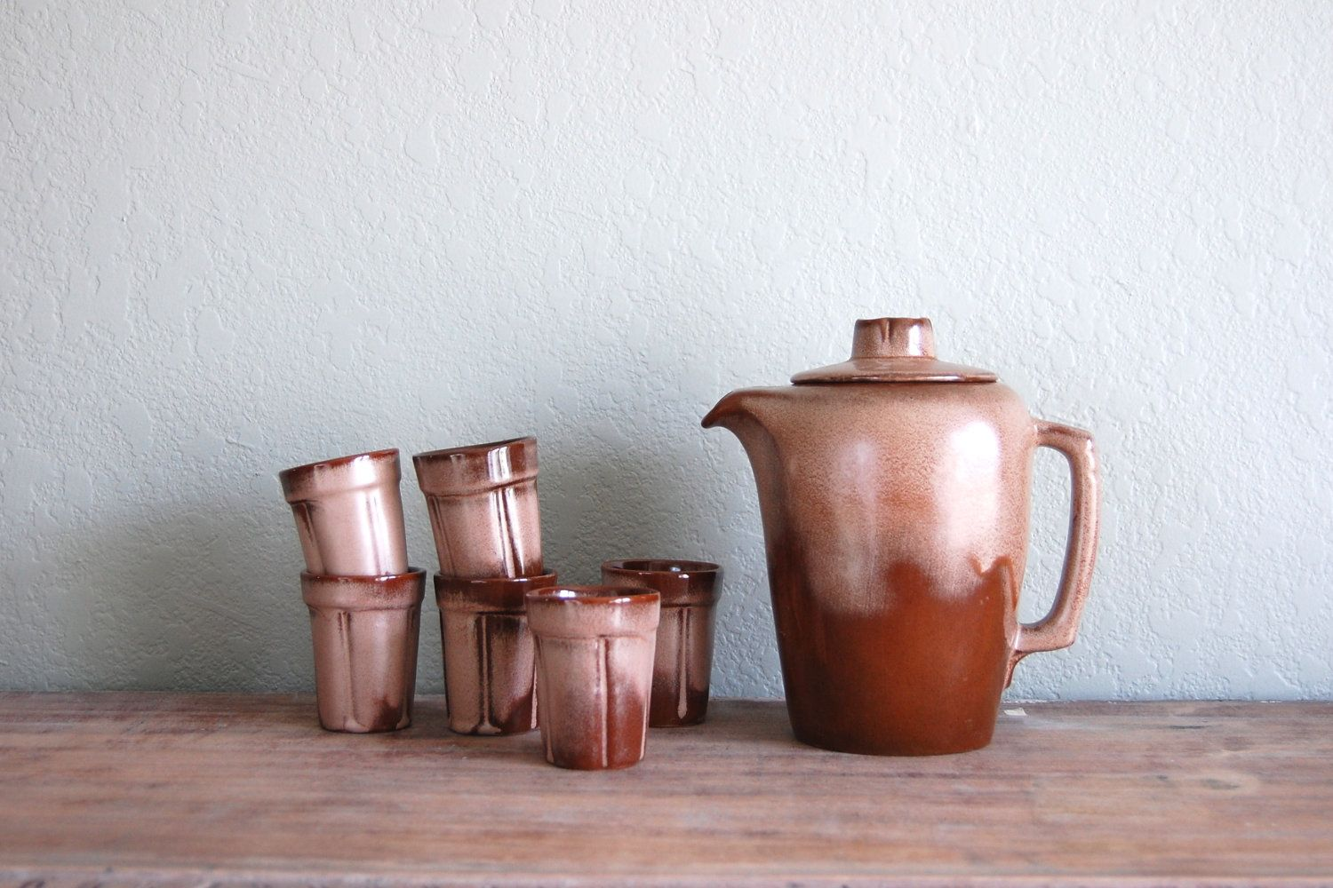 Frankoma pottery pitcher and cups by aneedleinthehay on Etsy