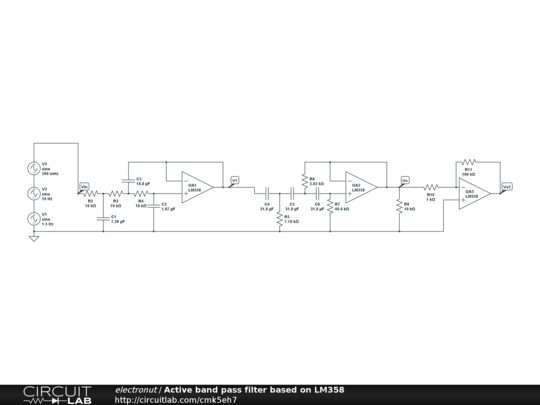 Active band pass filter based on LM358 | Electronics in 2019