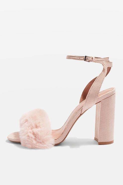 d5366a38e1e MAISON Faux Fur Block Heel Sandals Cute Shoes