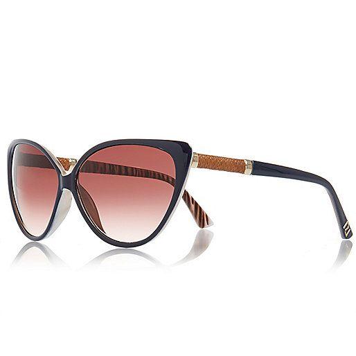 e10fcdf23dedcc Marineblauwe kattenoogzonnebril - zonnebril met kattenoog-design - zonnebril  - dames