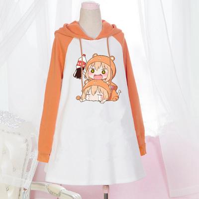 Japanese kawaii cartoon hooded fleece dress